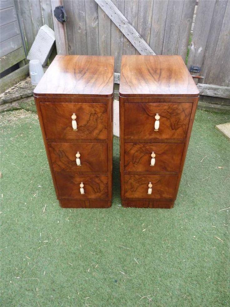 Vintage Pair Of Art Deco Burr Walnut Bedside Cabinets 3