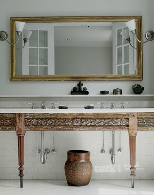 Best Photo Gallery For Website double bathroom sink counter on wood table with shelf above and large mirror with wood mirror