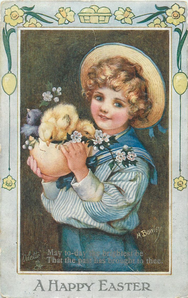 Sophia May Bowley (1864-1960) —   A Happy   Easter Greetings, 1910 (1048x1656)