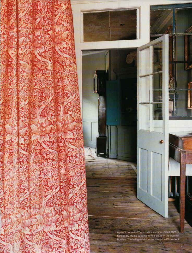World of Interiors (that curtain with the worn wood floor!)