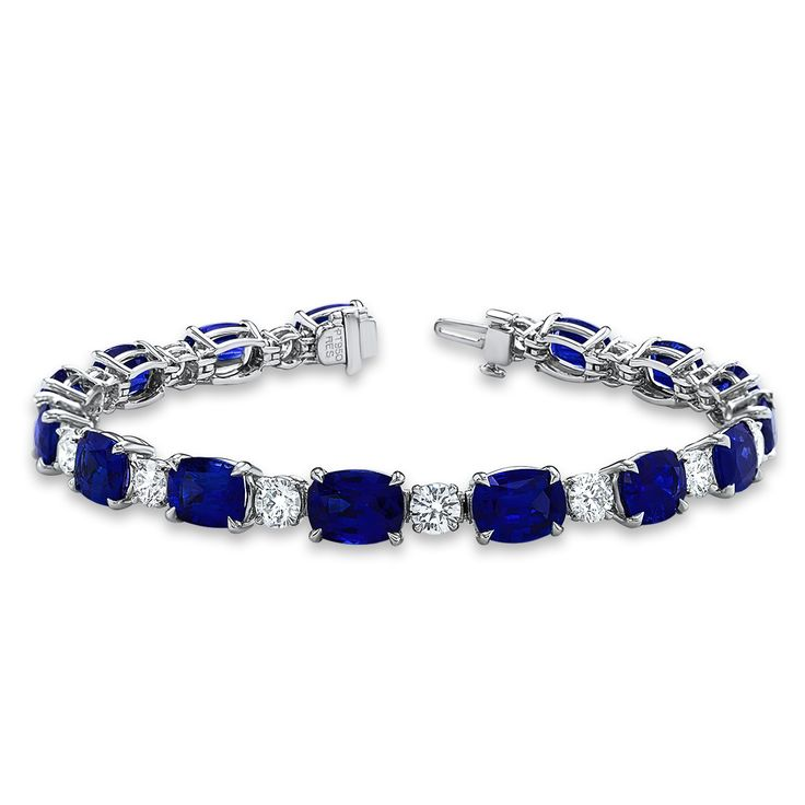 Angara Blue Sapphire Diamond Tennis Bracelet in 14k Rose Gold aUV99eZO