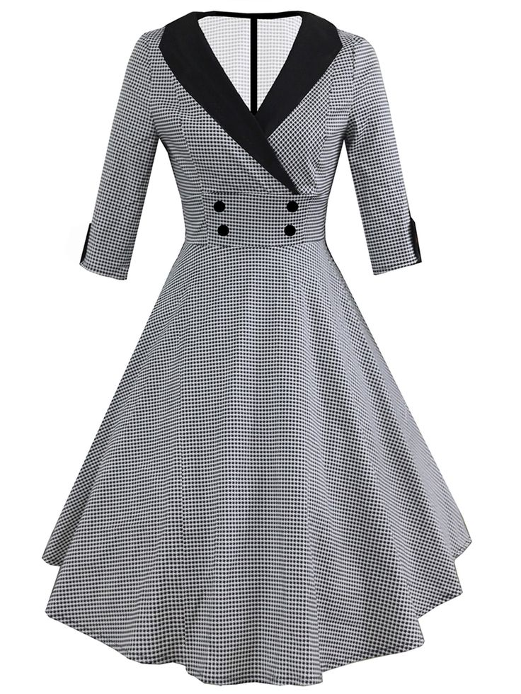 Shop Contrast Collar Houndstooth Circle Dress online. SheIn offers Contrast Collar Houndstooth Circle Dress & more to fit your fashionable needs.