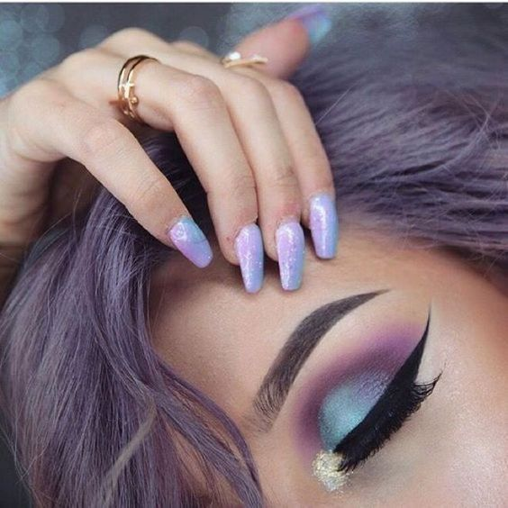 Playful Purple Blue Eyeshadow Creative Eye Makeup