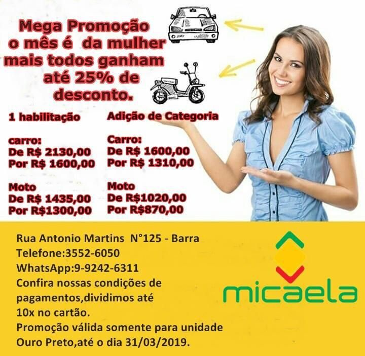 Mega Promocao Autoescola Micaela O Mes E Da Mulher Mas Aqui Na