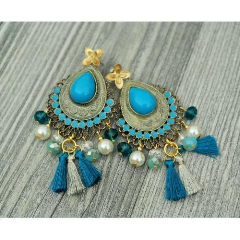 Aretes Dorado y Azul