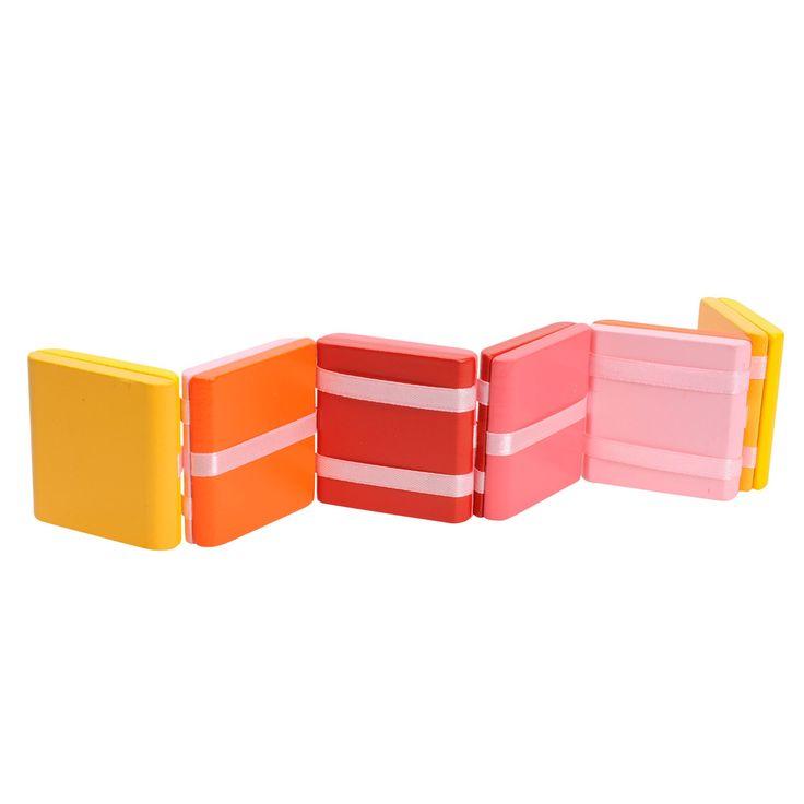 Pak de roze jacobsladder aan het bovenste houtje vast, draai het om en zie hoe alle blokjes van de ladder razendsnel volgen! Afmeting:29,5 x 5 x 1,2 cm.  - Jacobsladder Roze