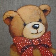 """Tableau peinture ours sur lin :""""mon beau noeud papillon à pois"""""""