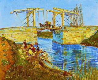A pintura em óleo sobre tela, A Ponte de Langlois em Arles, também conhecida como A Ponte em Langlois com Lavadeiras, do pintor Van Gogh, retrata uma cena cotidiana em dia iluminado. À margem esquerda de um rio, um grupo de lavadeiras em diferentes posições: elas usam touca, algumas saia e blusa e outras, vestidos compridos modestos. À beira do rio, é evidente que um pequeno grupo enxagua roupas...