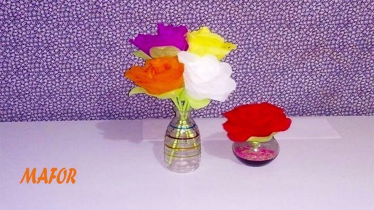 como hacer flores de crepe sencillas