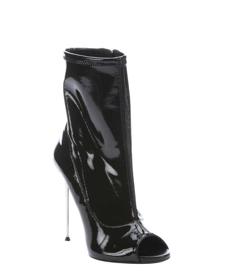 The Giuseppe Zanotti black patent leather peep toe stiletto boots at Bluefly.