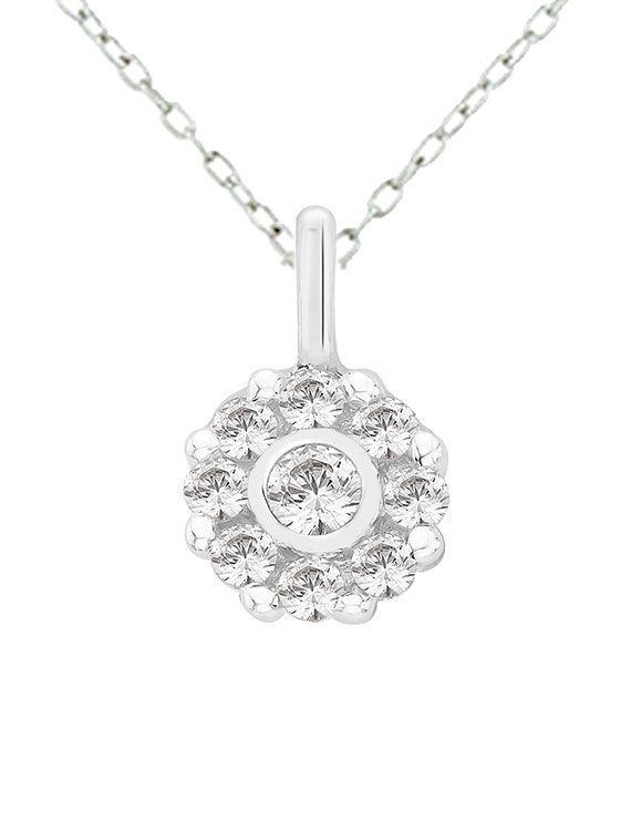 Rhodium Plated Silver & Swarovski Zirconia Cluster Pendant & Chain