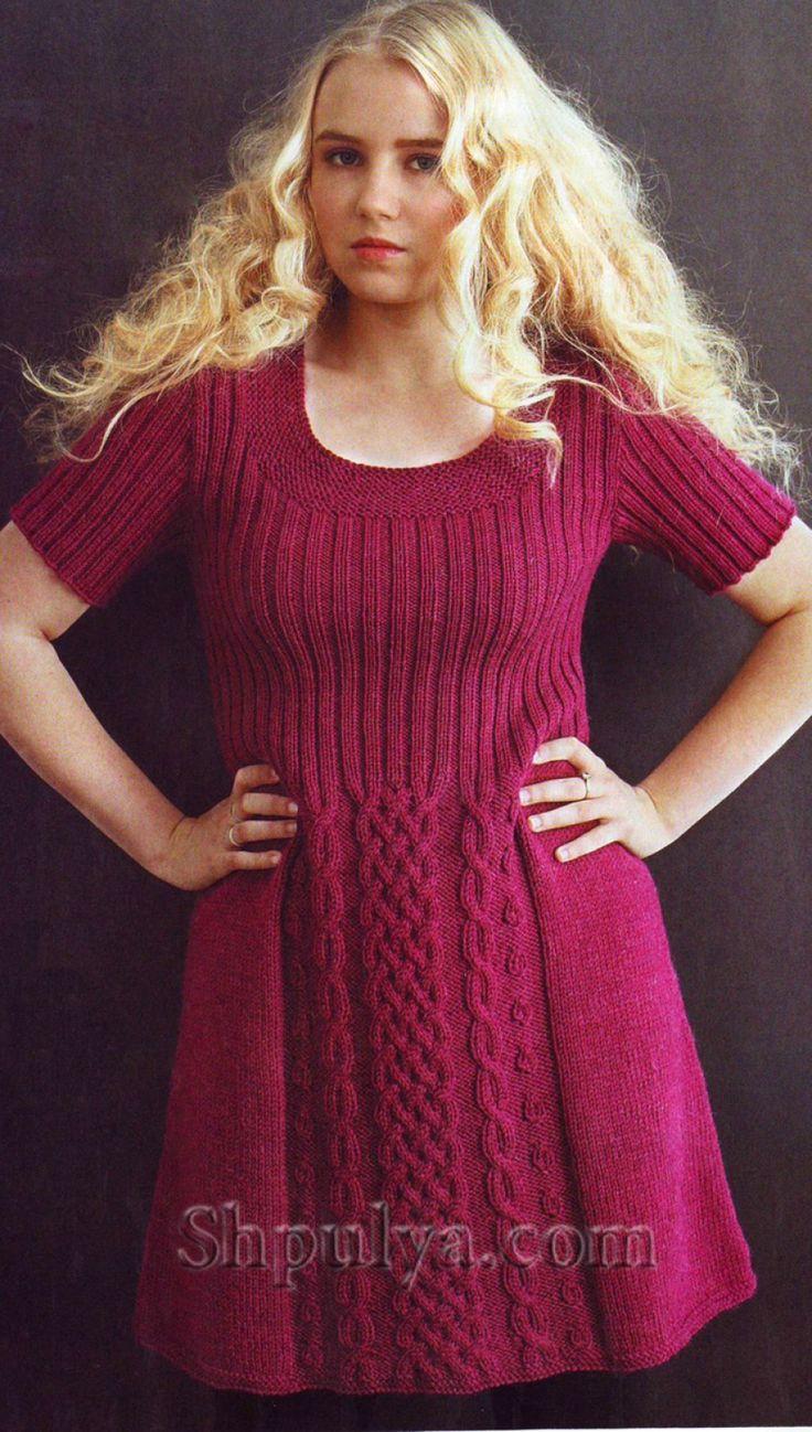 www.SHPULYA.com - Малиновое платье с рельефным узором, вязаное спицами