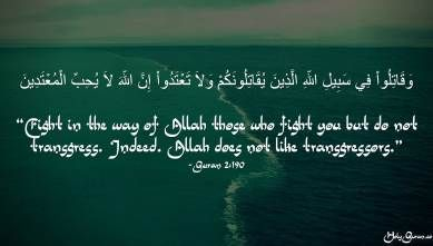 """""""Fight in the way of Allah those who fight you but do not transgress. Indeed. Allah does not like transgressors."""" - Quran 2:190"""