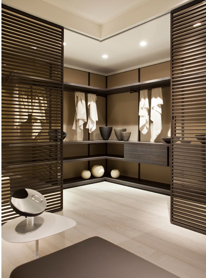 Stylish and modern walk-in-closet.