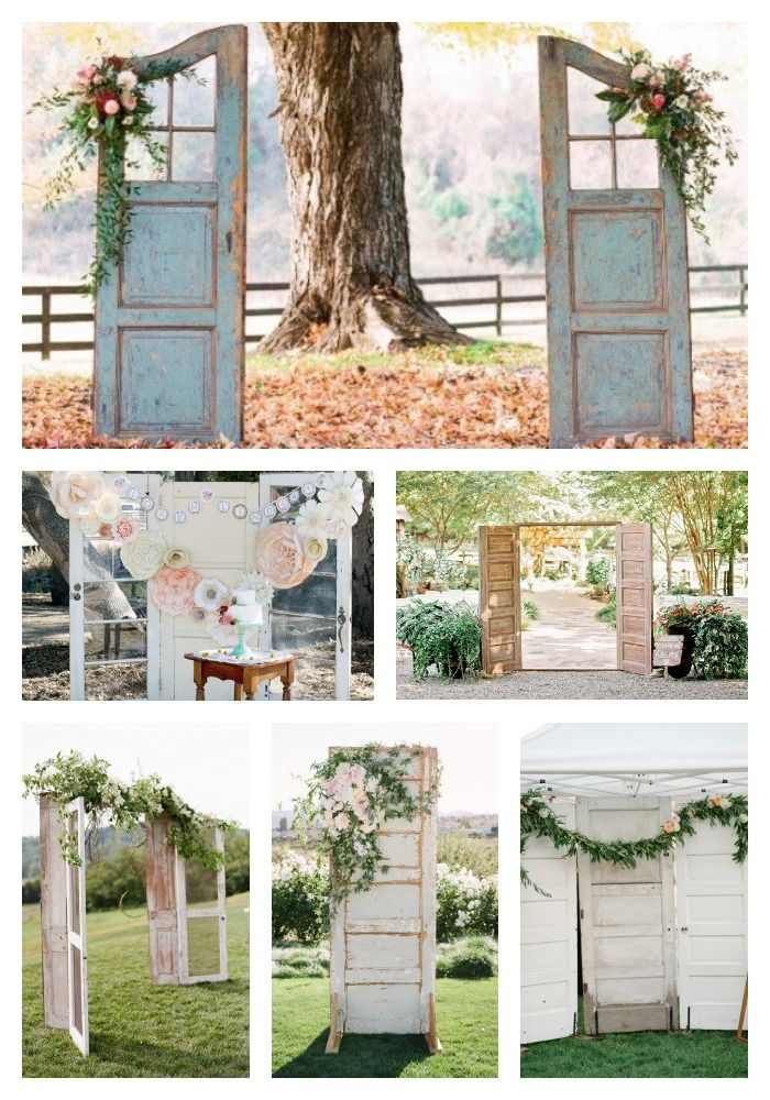 Using old doors for wedding entrance, backdrops or focal points.