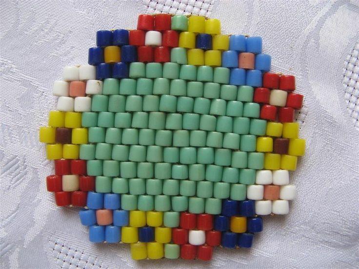 DDR Glasperlenuntersetzer Blumenmuster Perlen Untersetzer