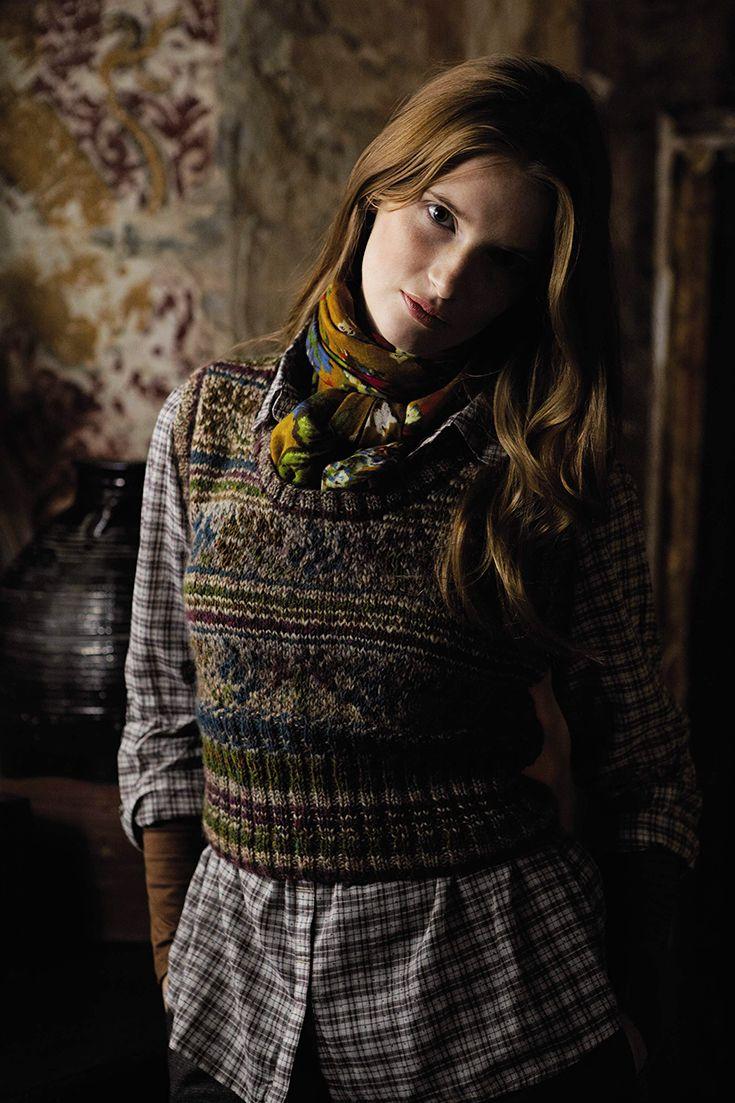 Rowan Magazine 54. From the story, Folk, comes Ukraine designed by Marie Wallin using Colourspun and Rowan Tweed.