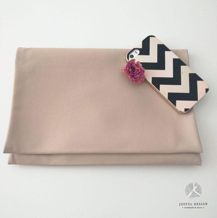 Beige handmade clutch