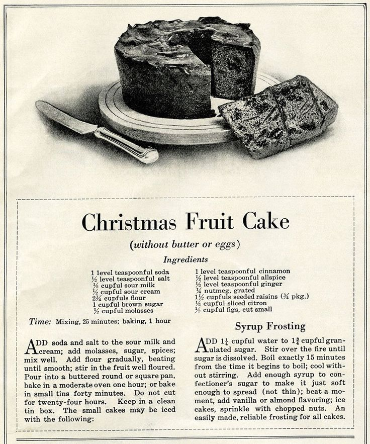 "This vintage Christmas Fruit Cake recipe is from ""The Ladies' World"" magazine, January 1915."