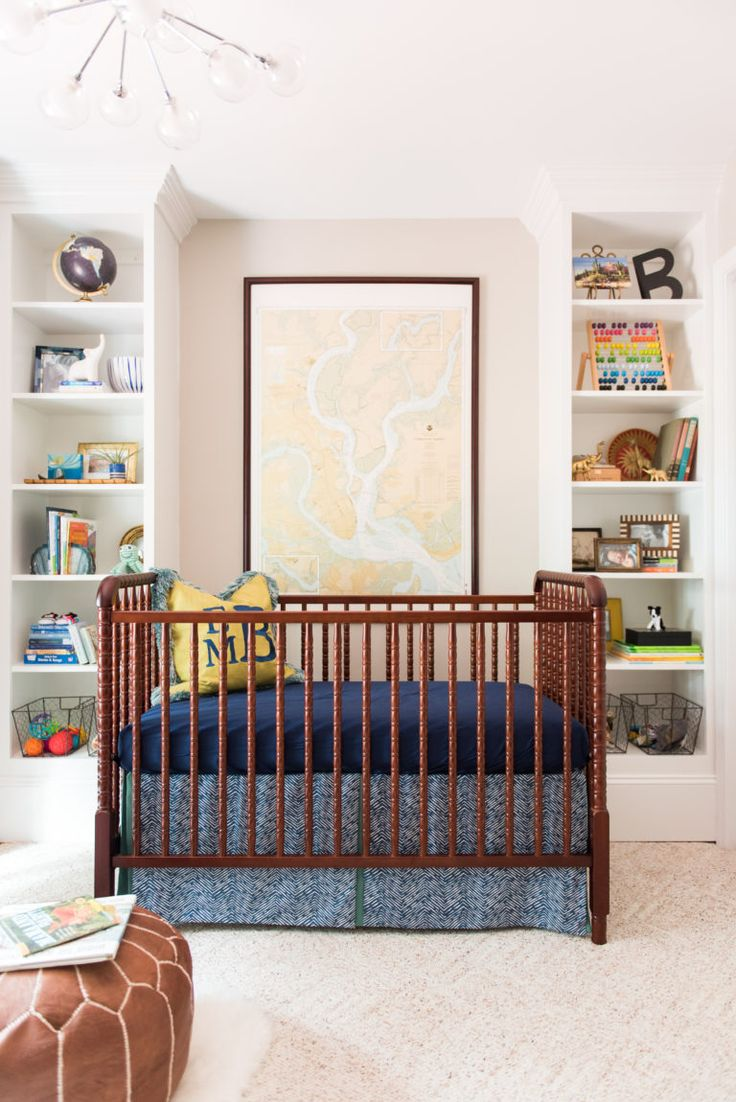 Midcentury Modern Nursery - love this Jenny Lind crib and styled shelves!