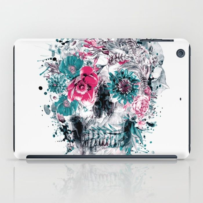 MOMENTO MORI IX iPad Case #skull #flowers #collage #abstract #colors #digitalart