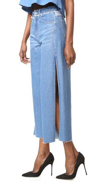 SJYP Side Cut Wide Leg Jeans