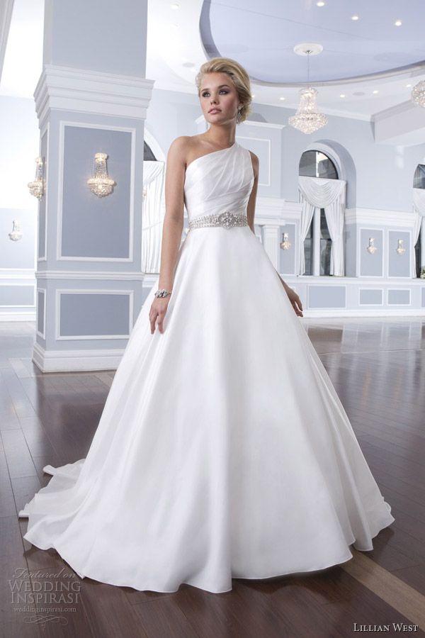 lillian west 2014 bridal style 6297 one shoulder wedding dress