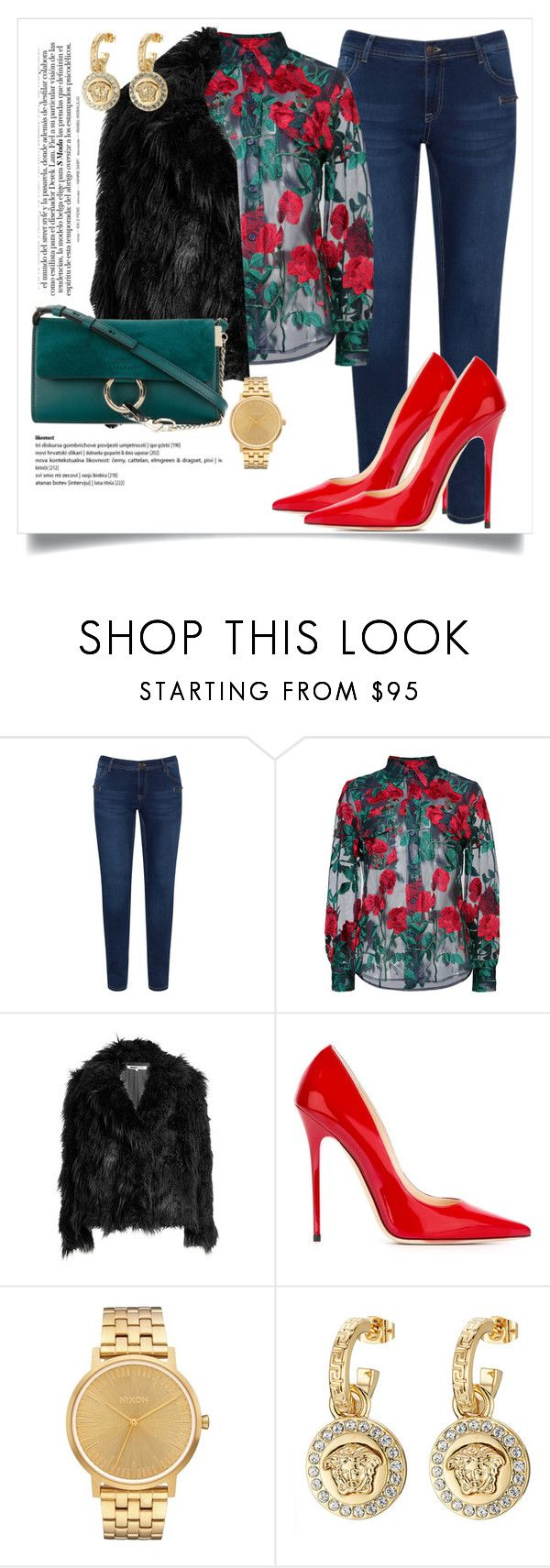 """""""A flower does not think of competing with the flower next to it. It just blooms."""" by miszbeauty ❤ liked on Polyvore featuring Zizzi, Adam Selman, McQ by Alexander McQueen, Jimmy Choo, Nixon, Versace and Chloé"""