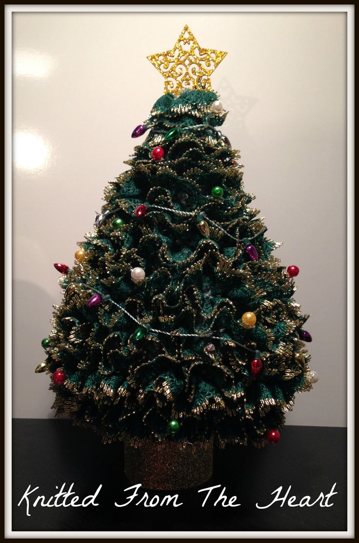 Large knitted christmas tree with fairy lights the Big christmas tree small space