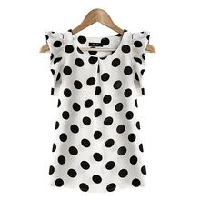 Fashion Women Casual Chiffon Dot   Short Sleeve Shirt Summer Tops(China (Mainland))