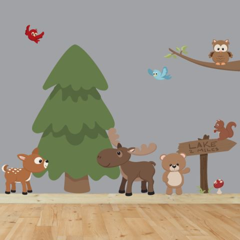 Nursery Decor, Woodland Nursery, Nursery Art, Animal Wall Decal, Tree Wall Decal, Kids Wall Sticker, Playroom Art Kids Decal, Woodland Decal