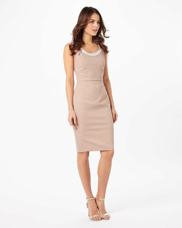 Phase Eight Belle Pearl Trim Dress Neutral