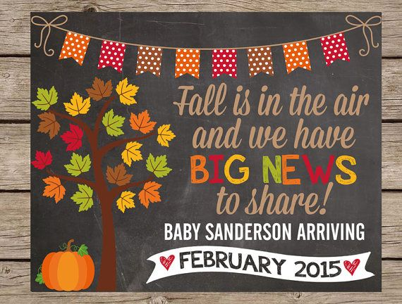 Fall Pregnancy Announcement Chalkboard Sign - Pumpkin Fall PRINTABLE PRINTED Pregnancy Reveal Chalkboard Big Brother Big Sister Chalk Poster