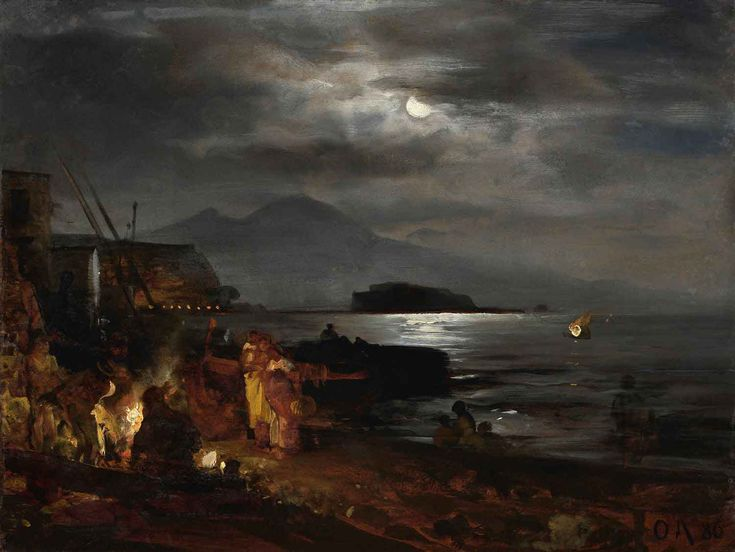 The bay of Naples in the moonlight - Oswald Achenbach