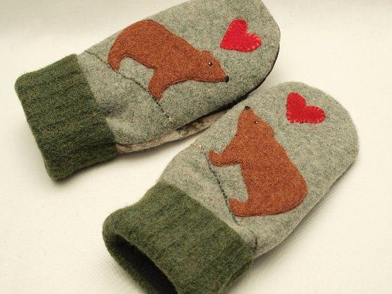 Felted Wool Mittens Bear Sweater Mittens Green by ForMyDarling