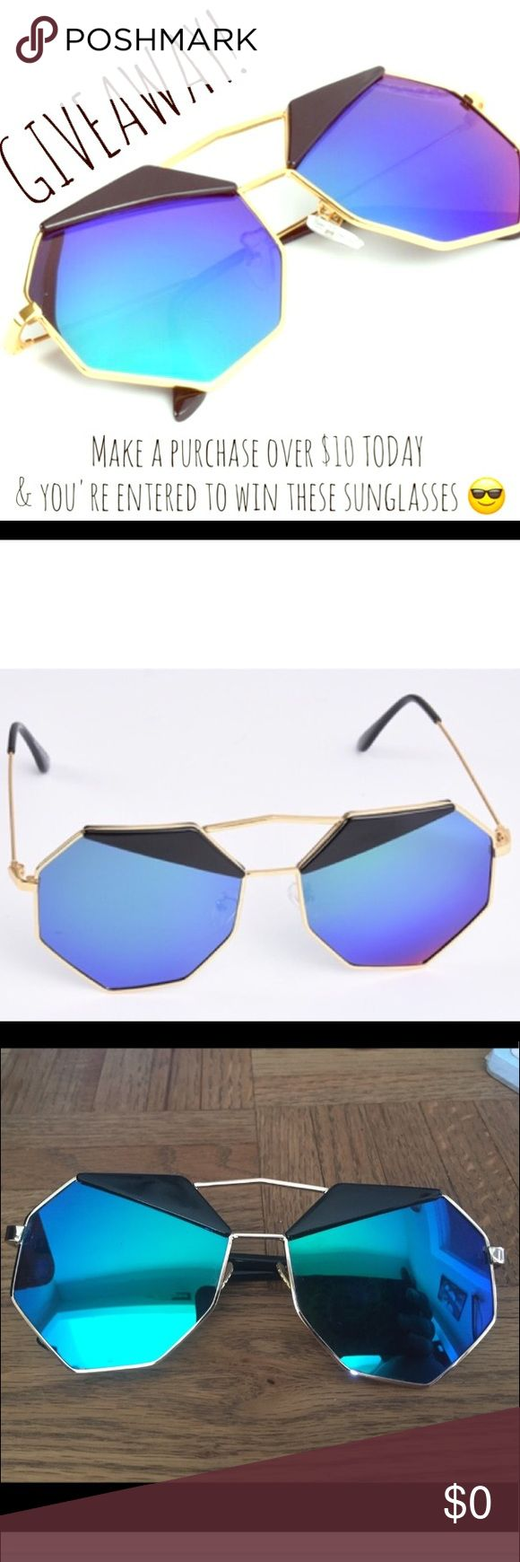 😎GIVEAWAY!!!!😎 Any purchases over $10 TODAY ONLY will be entered to win theses sweet shades (last photo, silver and blue pair). These are definitely festival shades! Geometric stylized fashionable shades, great for music fests, concerts and raves. Accessories Glasses