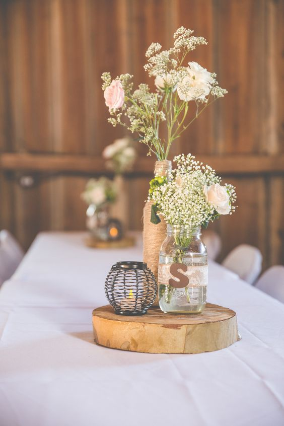 Rustic Chic Wedding Centerpiece by A.Marie Photography