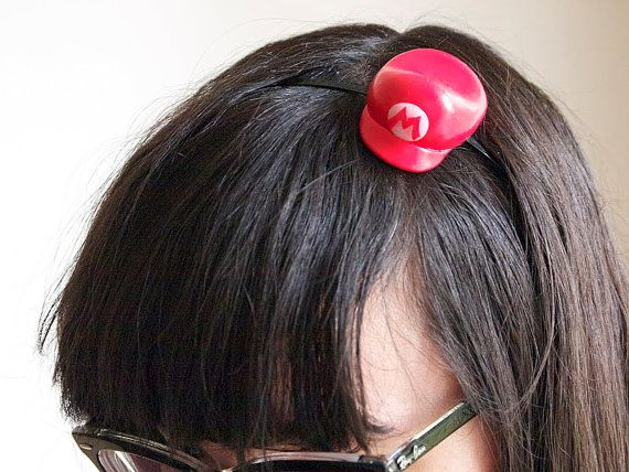 Super cute mini mario hat headband by Manadodje on Etsy