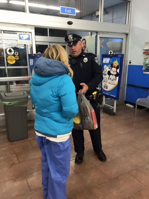 "Faith in Humanity Restored | Officer Perry ""After coming to the aid of a woman who fainted in Walmart tonight, Officer Keith Perry of Seekonk Police Department in Massachusetts discovered that the woman was homeless and hadn't eaten in quite some time. He then took it upon himself to buy her some groceries and helped her get to a hotel room to ride out the snow storm."""