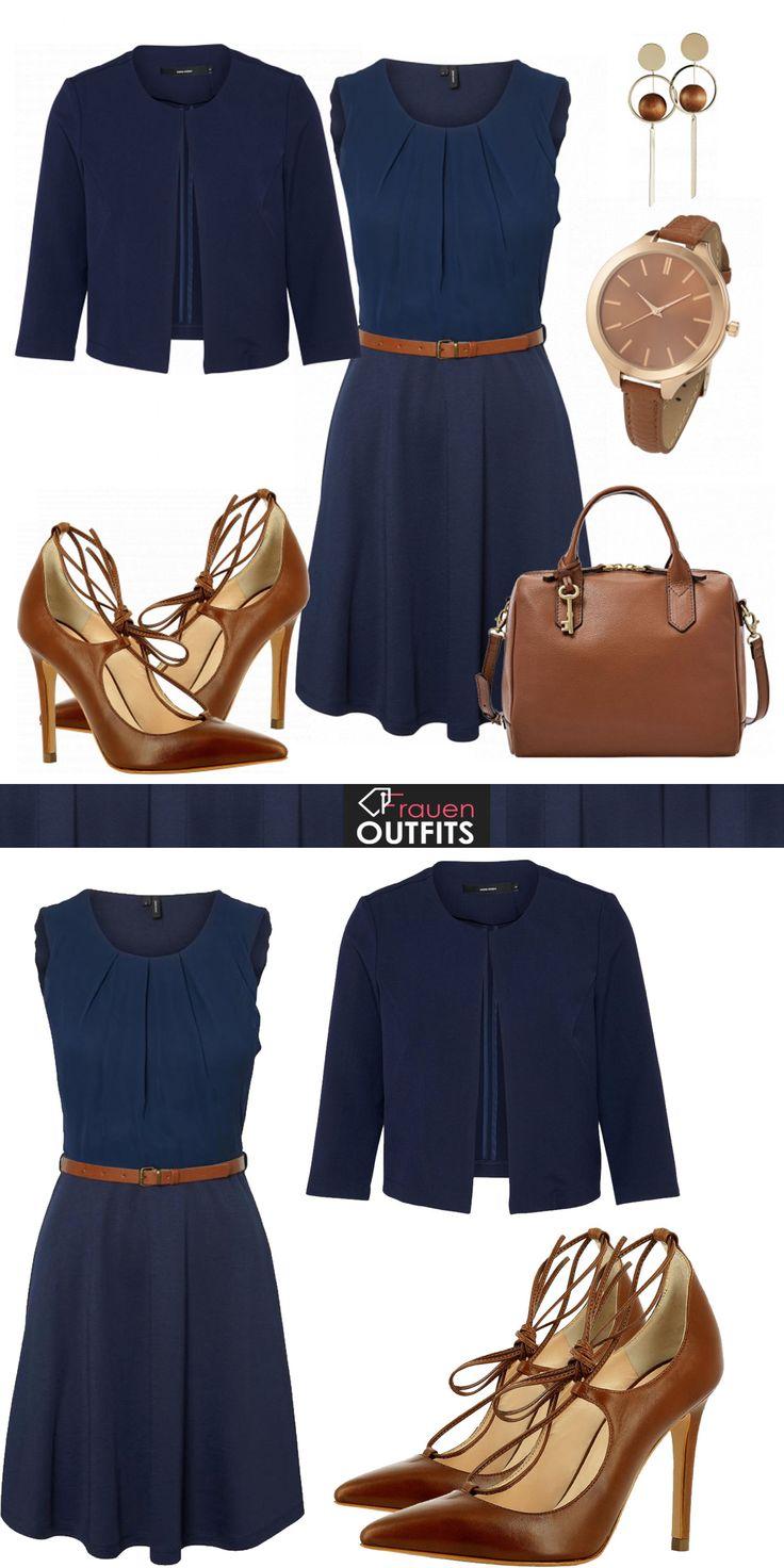 Schönes Bürooutfit für den Frühling mit einem blauen Kleid mit Taillengürtel, einem blauen Blazer und brauen High Heels #frauenooutfits #frauenmode #mode #business #businessmode #frühling #sommer #modetrends2018 #mode #damenmode #outfit #damenoutfit #modetrend #modetrend2018 #sommer #inspiration #style  #kleidung