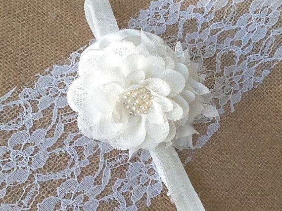 Baptism Headbands  Off White Headband  Christening Headband