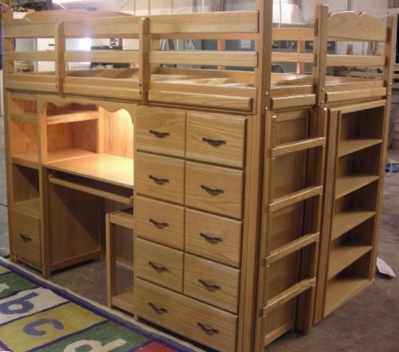 Queen size loft bed with storage stronger and larger the for Queen bunk bed with desk