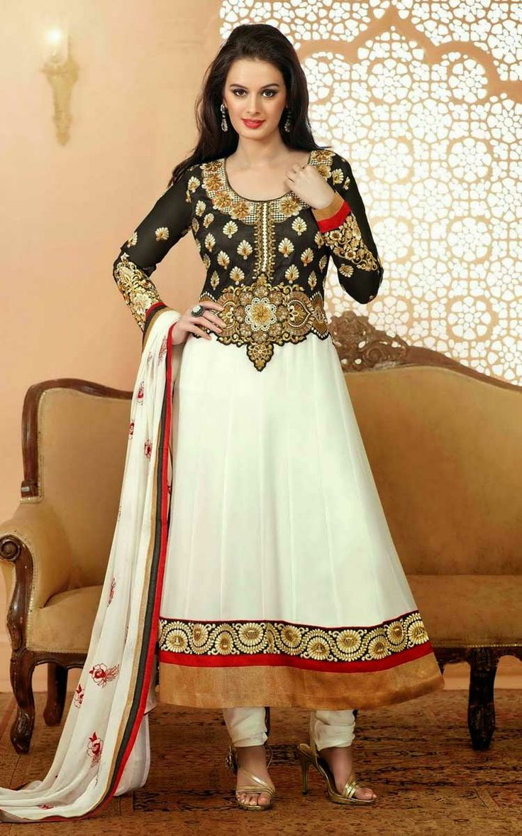 OFF WHITE & BLACK GEORGETTE ANARKALI SALWAR KAMEEZ - RANG 4798