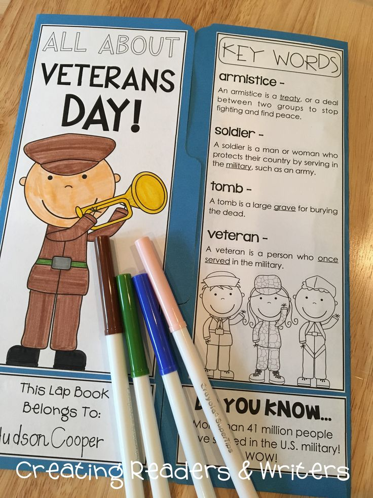 Your students will enjoy learning about Veterans Day as they make this holiday lap book. It includes informational text, key vocabulary, a historical timeline, a chart for comparing Veterans Day to Memorial Day, examples of celebrations, and comprehension questions. ($)