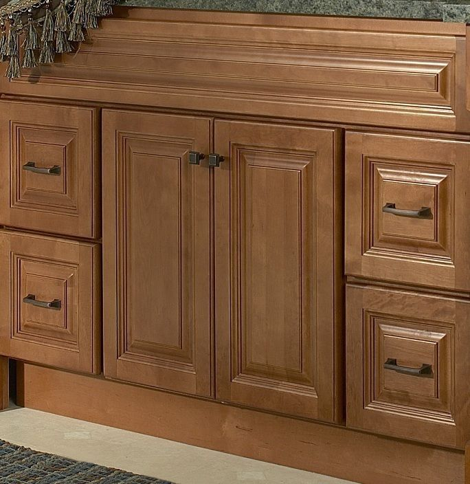 Photo Album Website Large linen cabinet next to bathroom vanity cabinets shown are Deerfield Shaker II Maple Bright