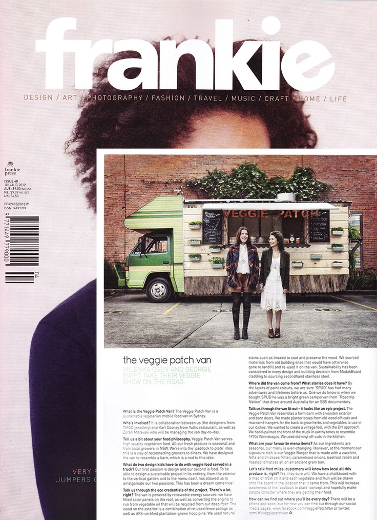 TMOD's @Veggie Patch Van in @frankie magazine Jul/Aug 2012