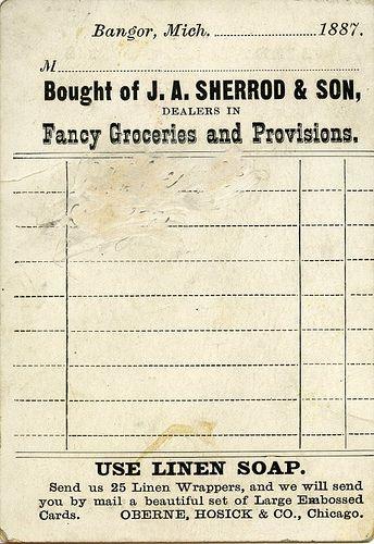 Grocery store receipt vintage free printable