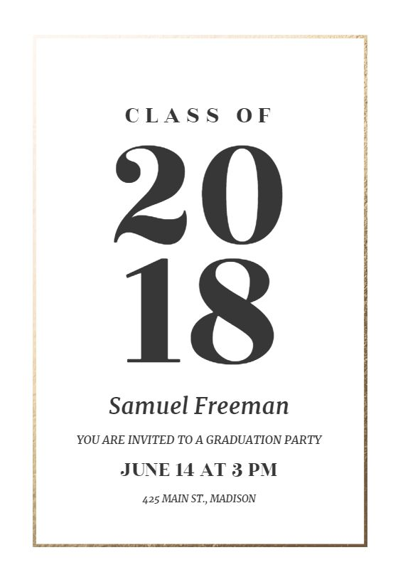 elegant big numbers invitation template customize add text and photos print download send online for free graduation graduationday graduatiocards