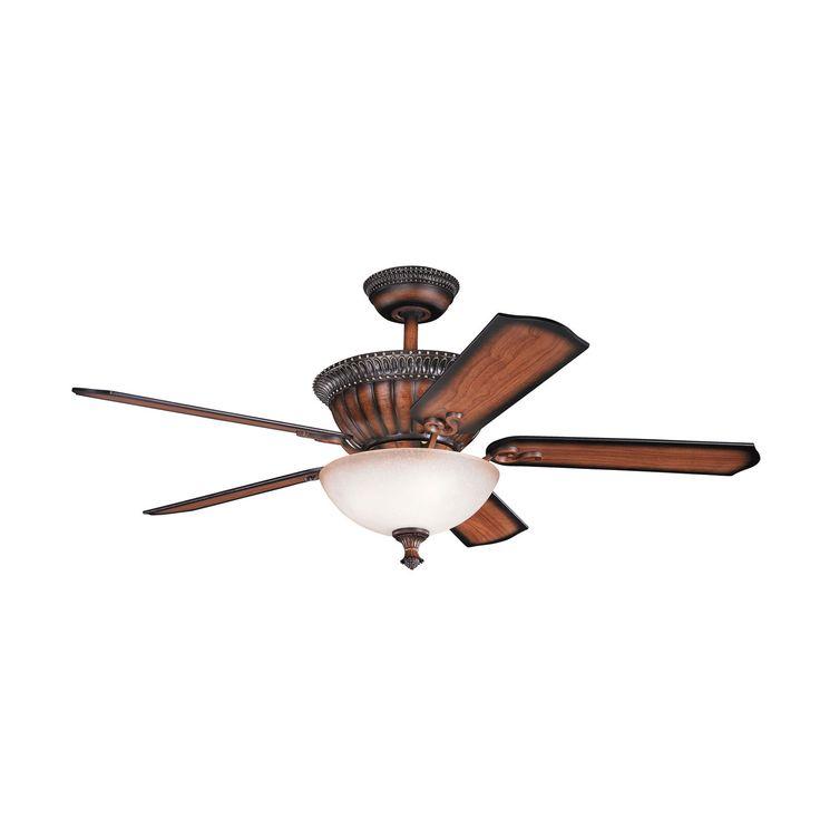 Larissa Mediterranean Walnut Ceiling Fan Kichler Stem Mounted Fan Ceiling Fans…