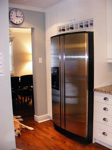 wine rack over fridge